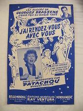 Partition J'ai rendez vous avec vous Georges Brassens Patachou 1954