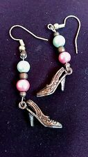 Dangle Earrings High Heel Shoes Charms Made With Heart & Sole Pink Blue Bead