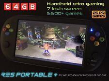 Res Portátil + Pantalla de 7 pulgadas de mano retro consola de videojuegos 64GB Emulador de Juegos UK