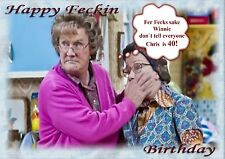 Personalised birthday card mrs Browns boys father son wife husband friend d