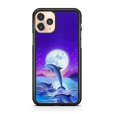 Majestic Dolphins Ocean Water Full Moon Colourful Scenery Cool Phone Case Cover