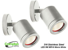 2 x 316 Stainless Steel LED Outdoor Adjustable Wall Light 12V 5W MR16