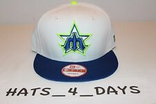 New Era 9FIFTY Seattle Mariners MLB White Blue Volt Lime Green Snapback Hat New