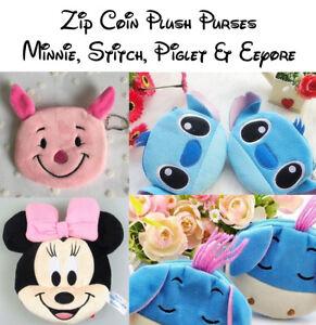 Disney Minnie 12cm Stitch, Piglet & Eeyore 10cm Plush Zip Coin Purse - Free Post