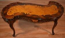 1910s Antique French Louis XV Walnut & Satinwood Floral Inlay Coffee Table
