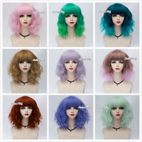UK SELLER Cosplay Curly Medium Wig With Bangs 20 Colors Lolita Heat Resistant
