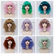 20 Colours Lolita 35cm Heat Resistant Women Cosplay Party Curly Medium Wig+Cap