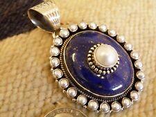 "1/2 "" Afgani Lapis Freshwater Pearl pendant  Dan Dodson   1/2 "" bezel - 36 grm"