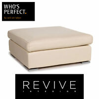 Who's Perfect Leder Hocker Creme Ottoman #13257