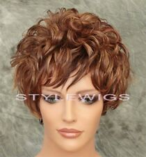 Brown/Blonde/Auburn Mix Short Layered Curly 100% Human Hair Wig ABH09 4/27/30