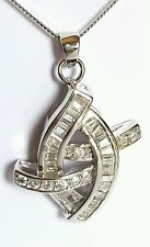 GENUINE & SOLID 925 Pure STERLING SILVER Pave Pendant Cubic Zircon RRP $68
