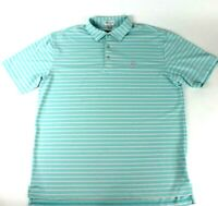 Peter Millar Mens Large Summer Comfort Men Golf Shirt Short Sleeve Blue Striped
