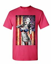 Marilyn Monroe US Flag T-Shirt Freedom Sexy Girl Tattoos Gangsta Mens Tee Shirt