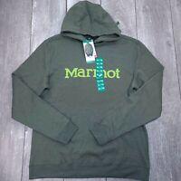 Marmot Hooded Sweatshirt Mens XL Green Pullover Hoodie Jumper SW35