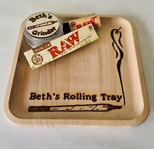 Hand Engraved Wooden Rolling Tray Personalised Grinder Raw Papers Smokers Gift