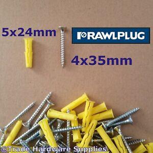 Rawlplug UNO Universal Wall Plug Fixings Anchor Rawl Plugs Yellow 5mm + Screws