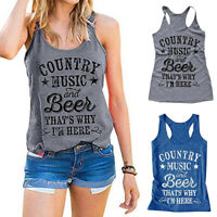Letter Print Tank Top Vest Sleeveless Country Music and Beer That's Why I'm Here