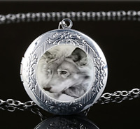 Ying And Yang Wolf Glass Dreamcatcher Tibet Silver Birthstones Necklace