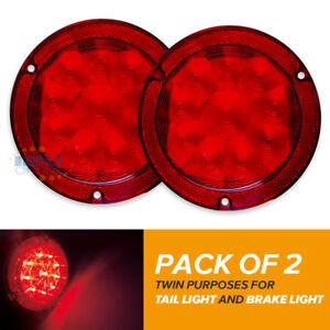 """2X12V LED 5.4"""" Round Tail Light RV Bus Truck Work Vehicles Brake Stop Light Red"""