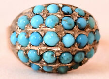 Antique 9K Solid Rose Gold and Natural Persian Turquoise Ring Size 8 3/4