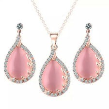 FX- Pink Rhinestone Leaf Pendant Dangle Earrings Necklace Jewelry Set Exquisite