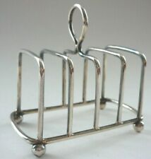 More details for antique 1902 silver toast rack with ball feet birmingham english hallmark