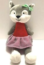 "Animal Adventure Gray Fox 13.5""  Plush Stuffed Animal wearing dress New Plushie"