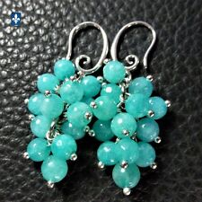 ✨ GROUPED SHIPPING DISCOUNTS Pretty Aquamarine Agate & Plated Silver Earrings
