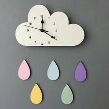 Wall Clock Wooden Cloud Raindrop Shaped Wall Hanging Mute Clock Room Decoration