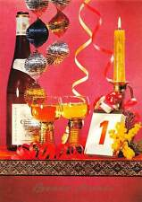 Bottle Champagne Glasses Number one January Candle Happy New Year