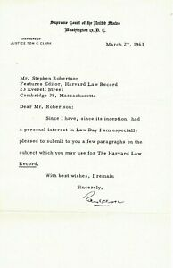 TOM C. CLARK. TLS as Supreme Court Justice re HARVARD LAW RECORD & Law Day.