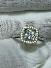 Sapphire Engagement Band Ring Gift Platinum Sterling Silver Cushion Cut White