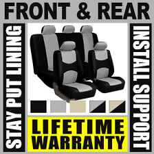 GRAY & BLACK COMPLETE FULL CAR SEAT COVERS SET - OEM Solid Rear Truck SUV B11
