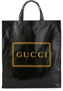 GUCCI Printed Logo / Black Coated Cotton Medium Tote Bag NWT 575140