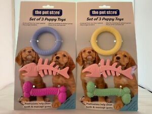 PUPPY TOYS PACK OF 3 NON TOXIC TOYS HELPS CLEAN TEETH HOURS OF FUN & EXERCISE