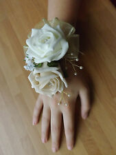 Wedding flowers bridesmaids wrist corsage ivory/champagne roses,diamante pearls