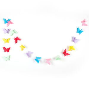 3D Hanging Butterfly Paper Garland Chain for Wedding Birthday Party Decor Banner
