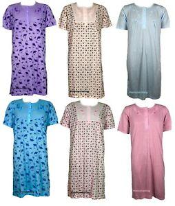 New Ladies Long PolyCotton Nightdress Flower Printed Women Short Sleeved Nightie