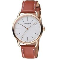 Seiko SUR238P1 Ladies Recraft Quartz Rose Gold Tone Leather Strap Watch RRP £179