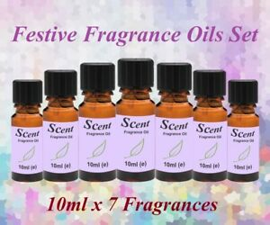 FESTIVE FRAGRANCE OILS SET - 10ml x 7 - for Candles, Diffusers, Oil Burners etc.