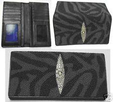 Stingray Leather Black & Gray Wave Design Wallet, Gray Stingray Bifold Wallet
