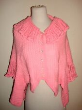 Vintage 60's Hand Crochet Sweater Wrap Poncho Pink blue white Stripped Buttons