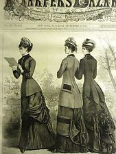 Victorian Fashion LADIES AUTUMN FALL SUITS 1878 Antique Engraving Art Matted