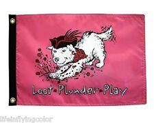 "Loot, Plunder, Play Pirate Boat Flag 12X18"" New Nautical Bark A Neer Dog Flag"