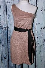 Max And Cleo Sequin Claudia One Shoulder Gold Taupe Holiday Party Dress XS 2