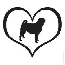 Size #1502 Heart Pug Dog Love Decal Sticker Choose Color