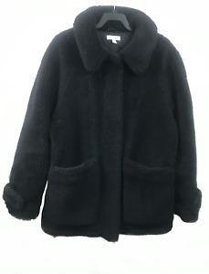 Topshop Short Black Teddy Bear Faux Fur Coat - Medium 12-14 UK