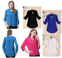 Women V Neck Long Sleeve Chiffon Tops Casual Tee Shirt Blouse Plus Size:8-20