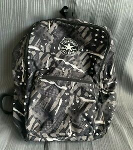 Converse Chuck Taylor All Star Gray, Black, and White Horizontal Zip Backpack