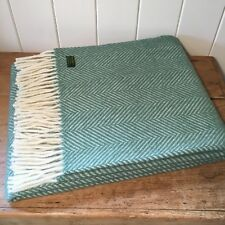 KNEE RUG /SMALL THROW Pure New Wool AQUA GREEN Herringbone Chair Blanket British